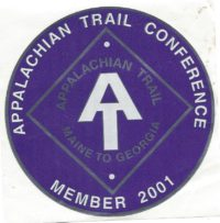 Appalachian Trail Conference 2001 Member Decal